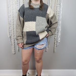 Vintage Oversized Chunky Knit Grandpa Sweater Lg